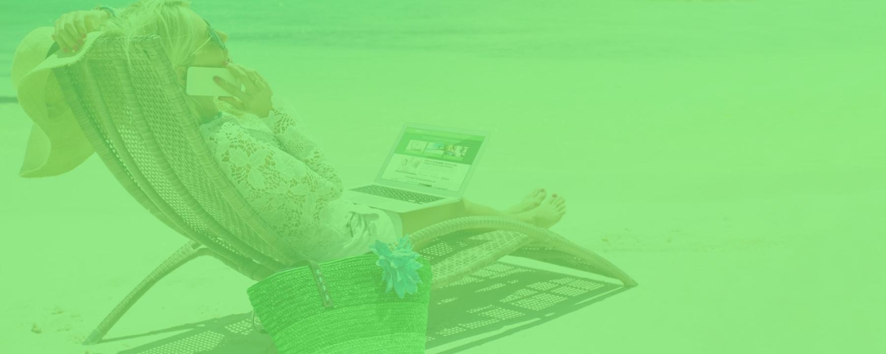 Woman on Beach- bright green 1800x721